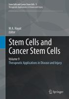 Cover image for Stem cells and cancer stem cells. Volume 9, Therapeutic applications in disease and injury