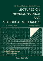 Cover image for Lectures on thermodynamics and statistical mechanics