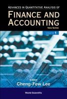 Cover image for Advances in quantitative analysis of finance and accounting : new series