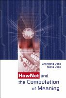 Cover image for Hownet and the computation of meaning