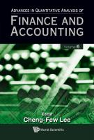 Cover image for Advances in quantitative analysis of finance and accounting. Vol. 6