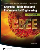 Cover image for Proceeding of the 2009 International Conference on Chemical, Biological and Environmental Engineering, CBEE 2009, Singapore, 9-11 October 2009