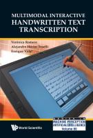 Cover image for Multimodal interactive handwritten text transcription