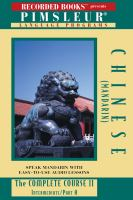 Cover image for Pimsleur language programs. Chinese (Mandarin) II A the complete course.