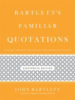 Cover image for Bartlett's familiar quotations : a collection of passages, phrases, and proverbs traced to their sources in ancient and modern literature
