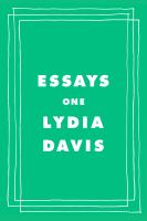 Cover image for Essays one