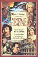 Cover image for Vintage reading : from Plato to Bradbury : a personal tour of some of the world's best books