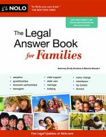 Cover image for The legal answer book for families
