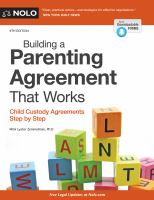 Cover image for Building a parenting agreement that works : child custody agreements step by step
