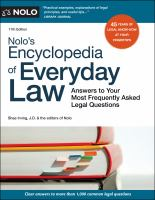 Cover image for Nolo's encyclopedia of everyday law : answers to your most frequently asked legal questions