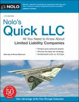 Cover image for Nolo's Quick LLC : All You Need to Know About Limited Liability Companies