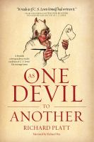 Cover image for As one devil to another [a fiendish correspondence in the tradition of C.S. Lewis' The screwtape letters]