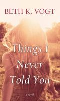 Cover image for Things I never told you : a novel