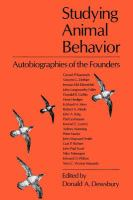 Cover image for Studying animal behavior : autobiographies of the founders