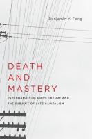 Cover image for Death and mastery  psychoanalytic drive theory and the subject of late capitalism