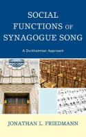 Cover image for Social functions of synagogue song a Durkheimian approach