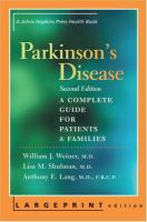 Cover image for Parkinson's disease a complete guide for patients and families