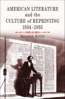 Cover image for American literature and the culture of reprinting, 1834-1853