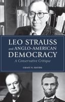 Cover image for Leo Strauss and Anglo-American democracy  a conservative critique