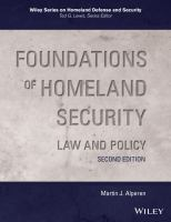 Cover image for Foundations of homeland security law and policy