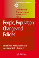 Cover image for People, population change and policies lessons from the Population Policy Acceptance Study. Vol. 1, Family change