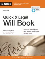 Cover image for The quick & legal will book