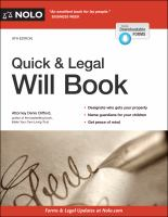 Cover image for Quick & legal will book
