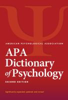 Cover image for APA dictionary of psychology