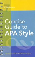 Cover image for Concise guide to APA style