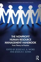 Cover image for The nonprofit human resource management handbook  from theory to practice