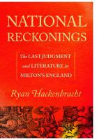 Cover image for National reckonings the Last Judgment and literature in Milton's England