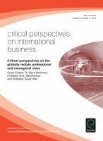 Cover image for Critical perspectives on the globally mobile professional and managerial class