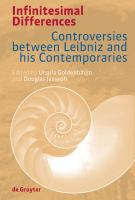 Cover image for Infinitesimal differences controversies between leibniz and his contemporaries