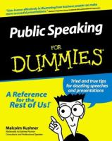 Cover image for Public speaking for dummies