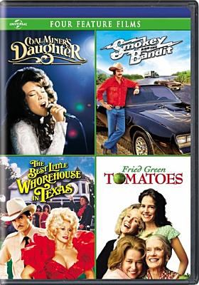 Cover image for Four feature films. Coal miner's daughter. Smokey and the bandit. Best little whorehouse in Texas. Fried green tomatoes