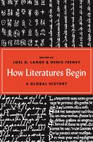 How literatures begin : a global history