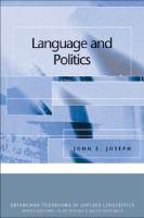Language and politics / John E. Joseph.