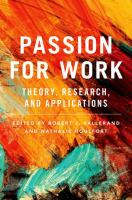Passion for work : theory, reseach, and applications