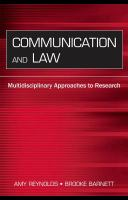 Communication and law : multidisciplinary approaches to research
