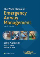 Walls manual of emergency airway management Fifth edition.