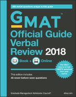 GMAT official guide verbal review 2018 : book + online