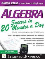 Algebra success in 20 minutes a day.
