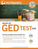 Peterson's Master the GED Test 2020.